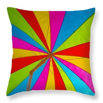 Beach Umbrella Throw Pillow by David Lee Thompson