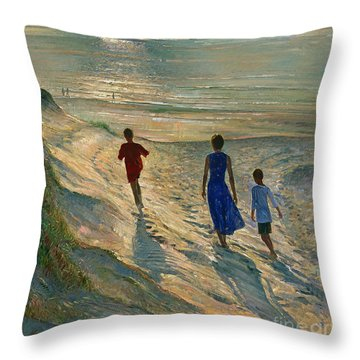 Beach Walk Throw Pillow by Timothy Easton