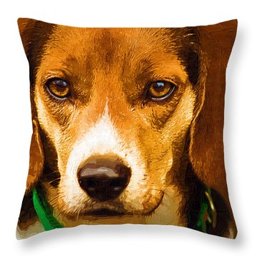 Beagle Hound Dog In Oil Throw Pillow by Kathy Clark