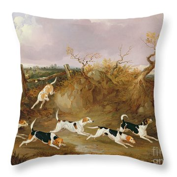 Beagles In Full Cry Throw Pillow by John Dalby