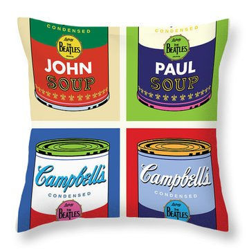 Beatles Soup Throw Pillow by Gary Grayson