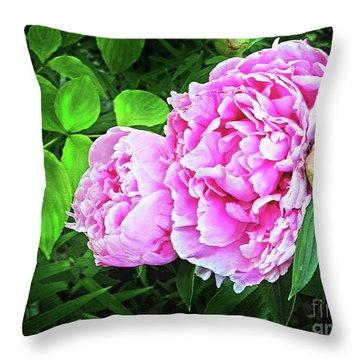 Beautiful Garden Peony Throw Pillow by Patricia L Davidson
