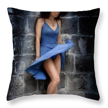Beautiful Romantic Woman Standing Near A Stone Wall Throw Pillow by Oleksiy Maksymenko