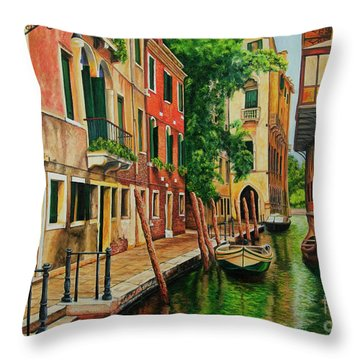 Beautiful Side Canal In Venice Throw Pillow by Charlotte Blanchard
