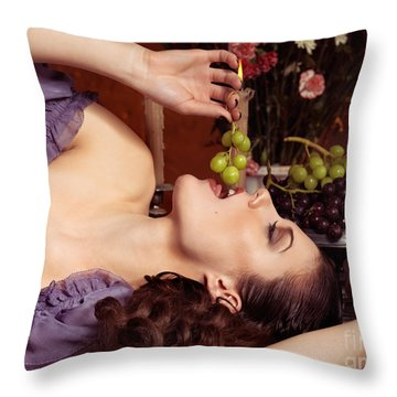 Beautiful Woman Eating Grapes On A Festive Table Throw Pillow by Oleksiy Maksymenko