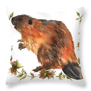 Beaver Painting Throw Pillow by Alison Fennell