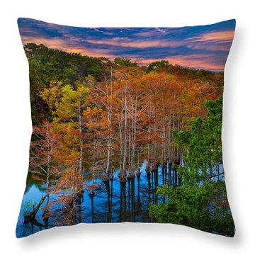 Beavers Bend Twilight Throw Pillow by Inge Johnsson