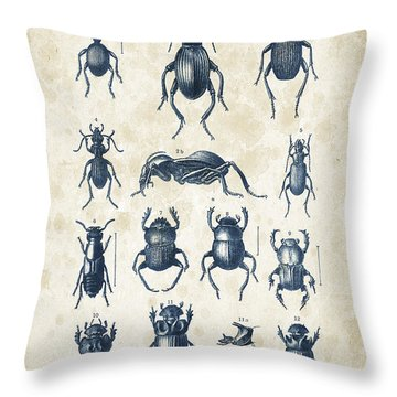 Beetles - 1897 - 01 Throw Pillow by Aged Pixel