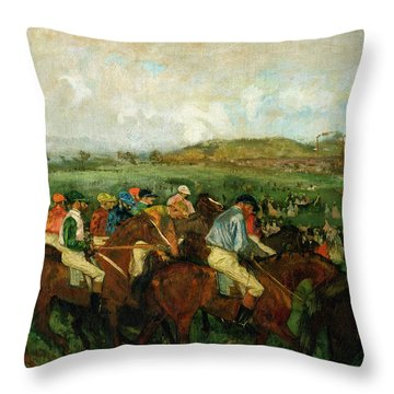 Before The Departure Throw Pillow by Edgar Degas