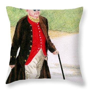Ben Franklin Throw Pillow by Glenda Zuckerman