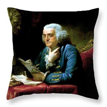 Ben Franklin Throw Pillow by War Is Hell Store