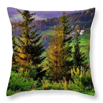 Beskidy Mountains Throw Pillow by Mariola Bitner