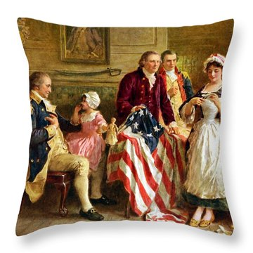 Betsy Ross And General George Washington Throw Pillow by War Is Hell Store