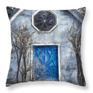 Beyond The Blue Door Pencil Throw Pillow by Edward Fielding