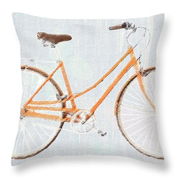 Bicycle Blues Throw Pillow by Priscilla Wolfe