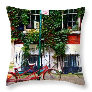 Bicycle Parking Sketch Throw Pillow by Randy Aveille