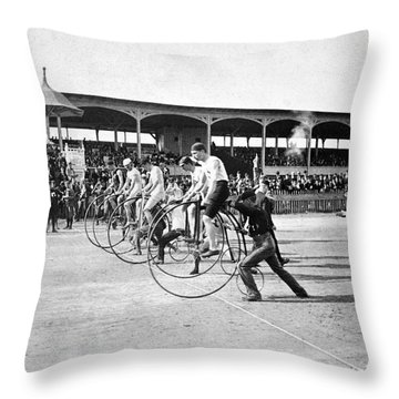 Bicycle Race, 1890 Throw Pillow by Granger