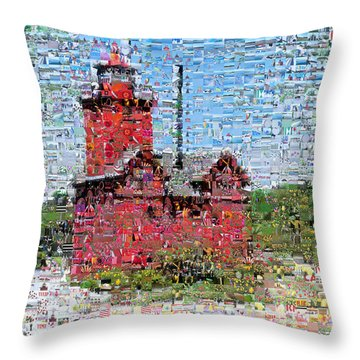 Big Red Photomosaic Throw Pillow by Michelle Calkins