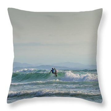 Throw Pillow featuring the photograph Big Surf Invitational II by Thierry Bouriat