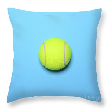 Big Tennis Ball On Blue Background - Trendy Minimal Design Top V Throw Pillow by Aleksandar Mijatovic