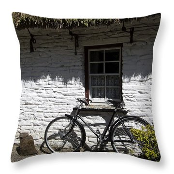Bike At The Window County Clare Ireland Throw Pillow by Teresa Mucha