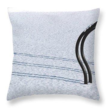 Bike Racks In Snow Throw Pillow by Steve Somerville