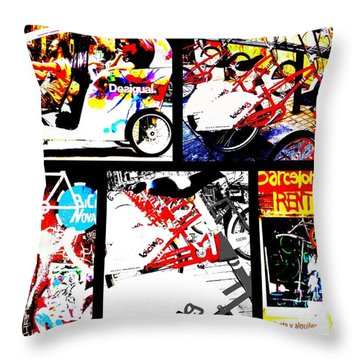 Biking In Barcelona Throw Pillow by Funkpix Photo Hunter
