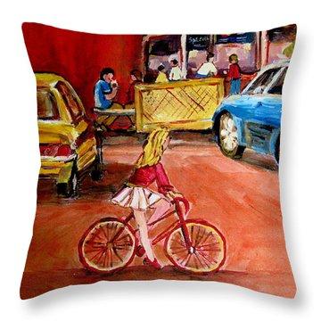 Biking To The Orange Julep Throw Pillow by Carole Spandau