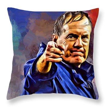 Bill Belichick Throw Pillow by Scott Wallace