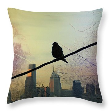 Bird On A Wire Throw Pillow by Bill Cannon