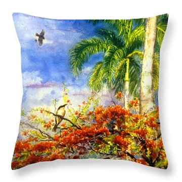 Bird Protected By Her Mother Throw Pillow by Estela Robles