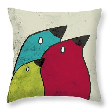 Birdies - V101s1t Throw Pillow by Variance Collections
