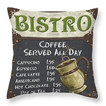 Bistro Chalkboard  Throw Pillow by Debbie DeWitt