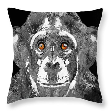 Black And White Art - Monkey Business 2 - By Sharon Cummings Throw Pillow by Sharon Cummings