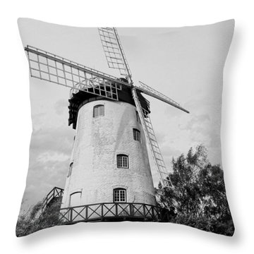 Black And White Windmill Throw Pillow by Sandy Taylor