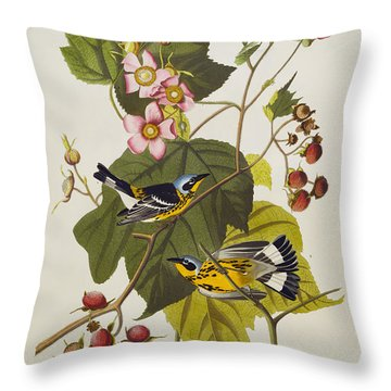 Black And Yellow Warbler Throw Pillow by John James Audubon