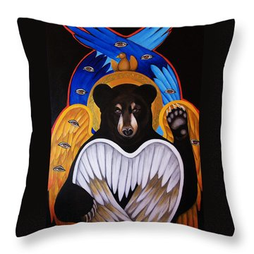 Black Bear Seraphim Throw Pillow by Christina Miller