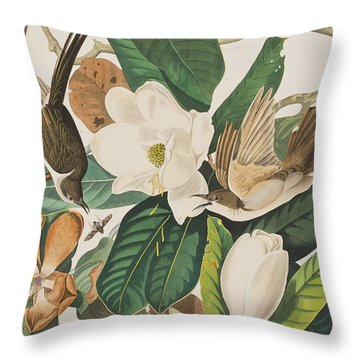 Black Billed Cuckoo Throw Pillow by John James Audubon
