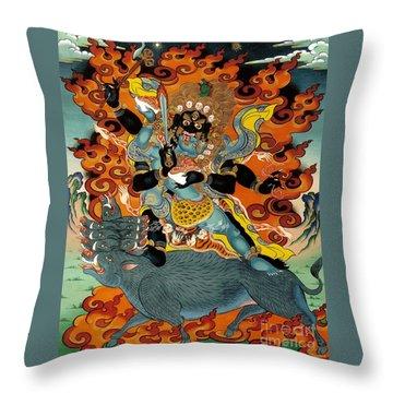 Black Hayagriva Throw Pillow by Sergey Noskov