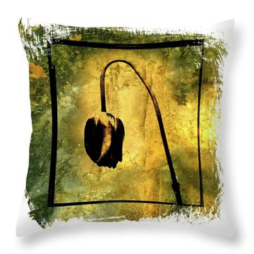 Black Tulip Throw Pillow by Bernard Jaubert
