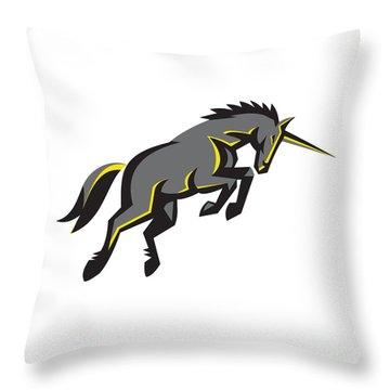 Black Unicorn Horse Charging Isolated Retro Throw Pillow by Aloysius Patrimonio