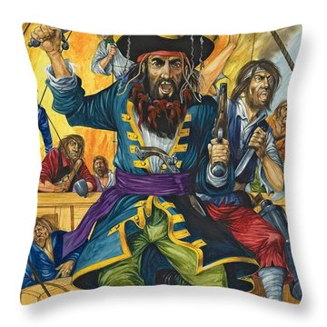 Blackbeard Throw Pillow by Richard Hook