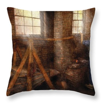 Blacksmith - It's Getting Hot In Here Throw Pillow by Mike Savad