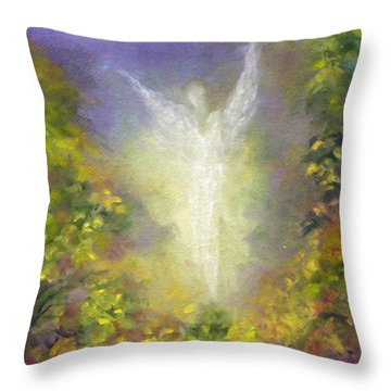 Blessing Angel Throw Pillow by Marina Petro