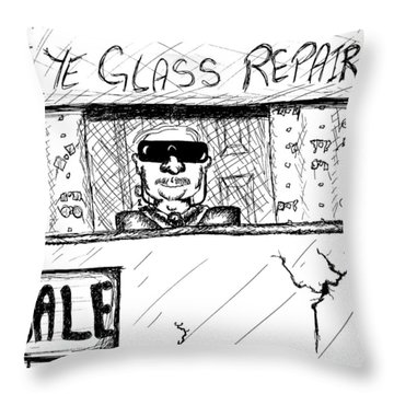 Blind Eye Glass Repair Throw Pillow by Jera Sky