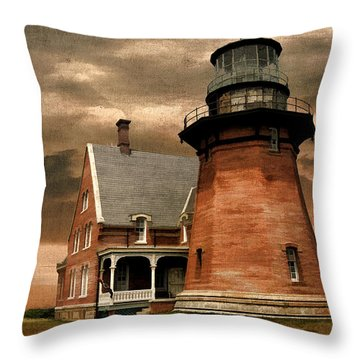 Block Island Southeast Light Throw Pillow by Lourry Legarde