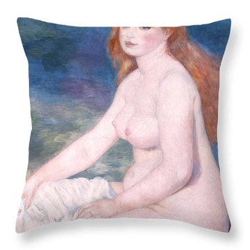 Blonde Bather II Throw Pillow by Renoir