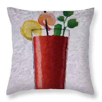 Bloody Mary Emoji Throw Pillow by  Judy Bernier