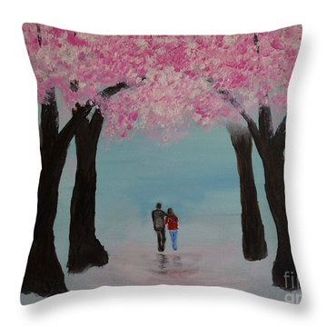Blossoming Romance Throw Pillow by Leslie Allen