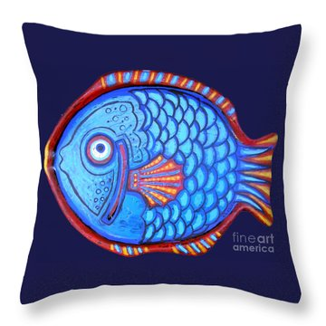 Blue And Red Fish Throw Pillow by Genevieve Esson